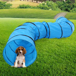 Collapsible Extra-long Pet Dog Agility Training Tunnel with Carry Bag and Stakes, Blue