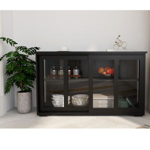 Free shipping  Kitchen Storage Sideboard, Antique Stackable Cabinet for Home Cupboard Buffet Dining Room (Black Sideboard with Sliding Door Window)