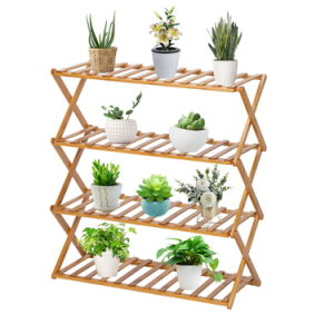 4-Tier Foldable Flower Rack Plant Stand Bamboo Shelf, Multipurpose Utility Storage Rack Books Picture Frames Shelves for Yard Garden Patio Balcony Bedroom, Natural RT