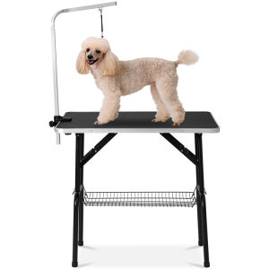 "Free shipping Dog/cat grooming table adjustable height -32 ""dry table with double loop/mesh tray, up to 220 LBS black"