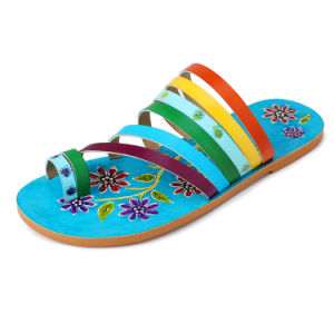 Iliyah Bohemian Handmade Women Flats Desigher Rainbow Genuine Leather Stitching Sandals