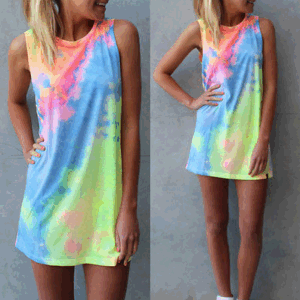 Free local delivery  Sun Women Summer Short Dress Holiday Beach Casual Loose Rainbow Sundress
