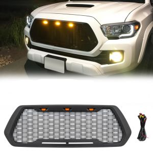Grille For 2016-2018 Toyota Tacoma ABS Mesh With 3 Amber LED Light Matte Black