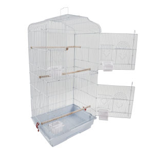 "37"" Bird Parrot Cage Canary Parakeet Cockatiel LoveBird Finch Bird Cage with Wood Perches & Food Cups White XH"