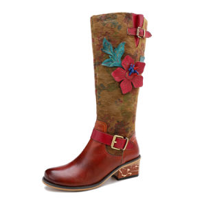Iliyah Bohemian Floral Handmade Splicing Genuine Leather Stitching Chunky Women High-Boots