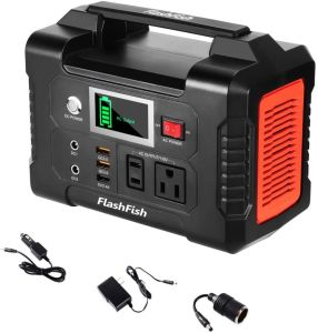 200W Portable Power Station, FlashFish 40800mAh Solar Generator with 110V AC Outlet/2 DC Ports/3 USB Ports, Backup Battery Pack Power Supply for CPAP Outdoor Advanture Load Trip Camping Emergency