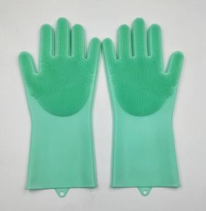 Two Pairs Magic Silicone Scrubber Rubber Cleaning Gloves Kitchen Helper