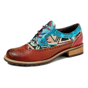 Iliyah Handmade Women Flats Lace Up Splicing Genuine Leather Stitching Oxfords