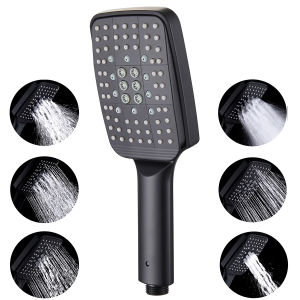 RBROHANT Handheld Shower Head Replacement, 6 Function Modern Bathroom Removable Hand Held Shower Head Square Shower Wand Detachable