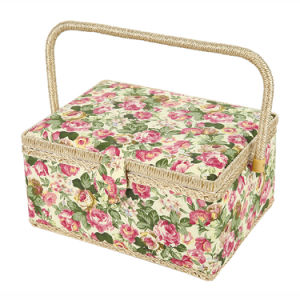 SAXTX Large Sewing Basket with 99Pcs Sewing Kit Accessories Wooden Sewing Box Organizer with Multiple Compartments