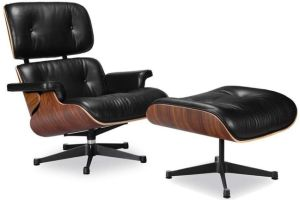 Eames Lounge Chair and Ottoman Set Mid Century Style Full Grain Leather with Walnut Wood Comfortable Livingroom