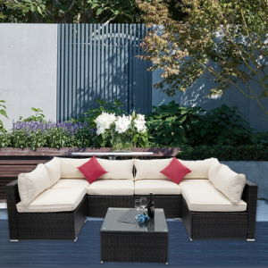 Outdoor Patio Furniture 7 Pieces Patio Furniture Wicker Sofa Set Sectional Seating Group Rattan Sofa Set, with Washable Seat Cushions and Modern Glass Coffee Table (Beige Cushion)