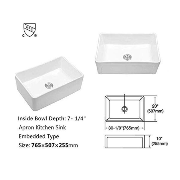 dropship Lordear Framhouse Kitchen Sink White Fireclay Aprom Front Sink