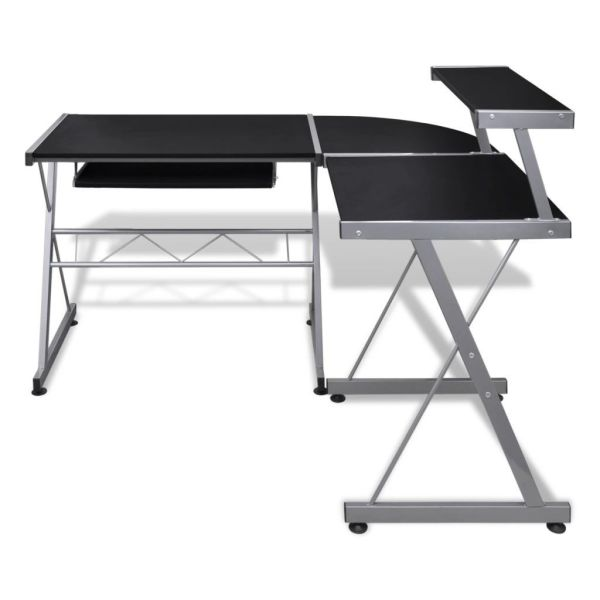 dropship US store free delivery Computer Desk Workstation With Pull Out Keyboard Tray Black