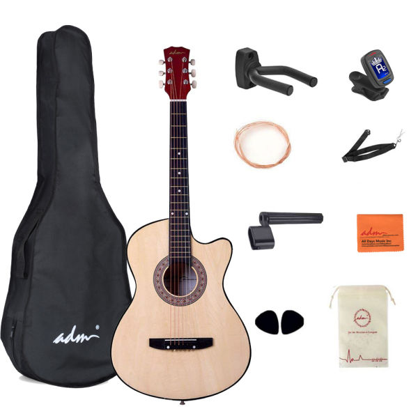 dropship Beginner Acoustic Guitar 38 Inch Steel Strings Blue Bundle Kit with Gig Bag, Tuner, Strings, Strap, and Picks