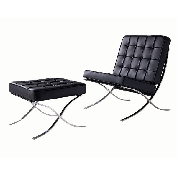 dropship Barcelona Sofa Chair Premium Quality Genuine Leather Stainless-Frame One set with Ottoman Set