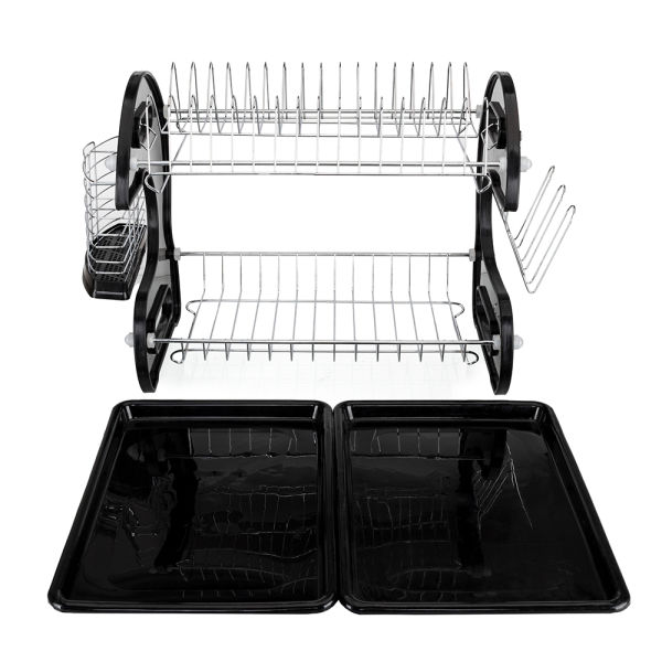 dropship Multifunctional Dual Layers Bowls & Dishes & Chopsticks & Spoons Collection Shelf Dish Drainer Black