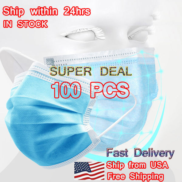 dropship 2x50Pcs Disposable Face Mask 3-PLY Protective Mask Filters Safety Breathable Anti Dust with Beauty Earloop Hot sale Mouth Masks