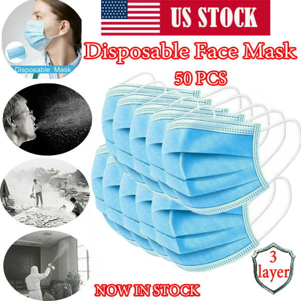 dropship 50Pcs Disposable Face Mask 3-PLY Protective Mask Filters Safety Breathable Anti Dust with Beauty Earloop Hot sale Mouth Masks