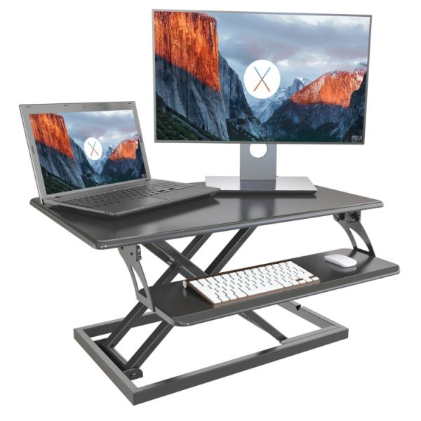 "dropship GIBBON Adjustable Standing Desk Converter With Keyboard Tray, Ergonomic Tabletop Sit Stand Workstation 31.5""×20"" Surface for Desktop and Laptop Computers"