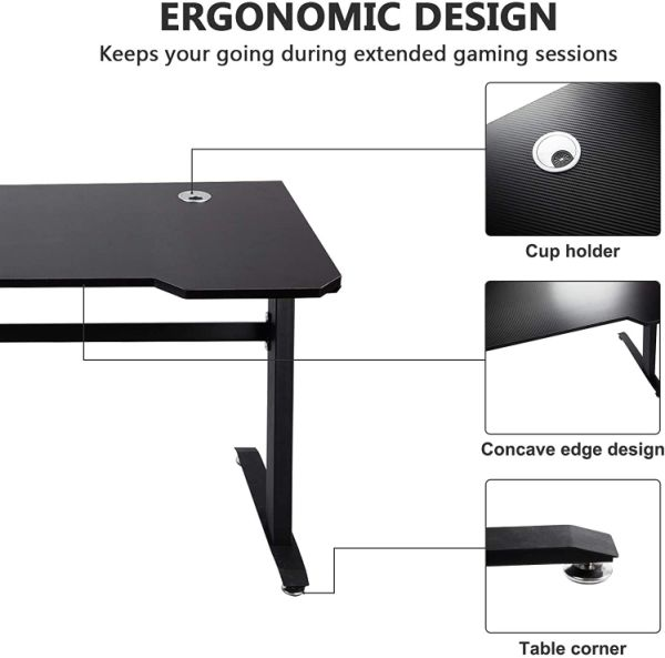 "dropship Gaming Table 47.2"" W x 23.6"" D Home Office Computer PC Desk Gaming Table Curve Design for Men Boyfriend Female Gift, Black Gamer Workstation, with 2 Cable Management Holes XH"