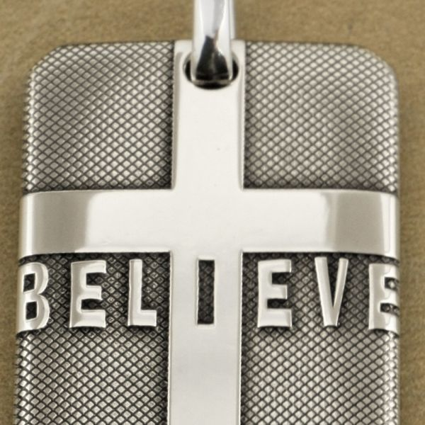 dropship G.W.L Necklace Cross BELIEVE DogTag 999 Sterling Silver Mens Biker Pendant   Only