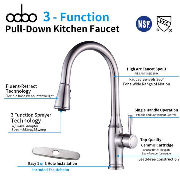 Dropship Odbo 8405 Kitchen Faucet Pull Down Single Level Stainless Steel Kitchen Sink Faucet With Pull Down Sprayer Single Handle High Arc Pull Out Kitchen Faucet To Sell Online At A Lower
