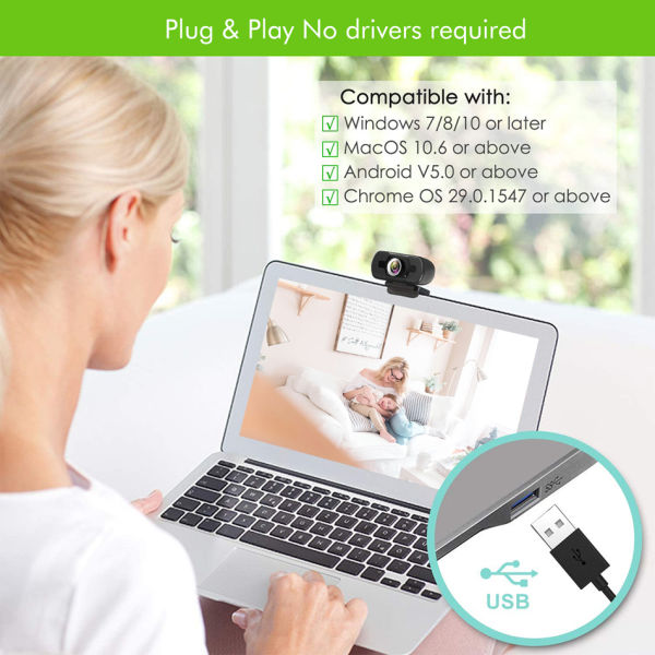 dropship USB Camera 1080P WebCam Camera With Mic For Computer PC Laptop Desktop Free Drive Desktop Computer Camera