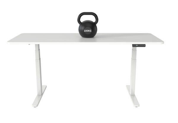dropship Qwork Standing Desk Adjustable Stand Up Workstation White Color