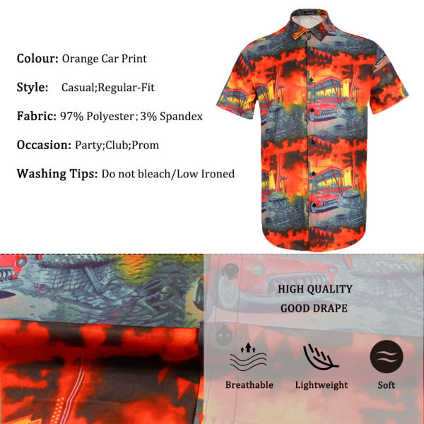 dropship Men Retro Cars Print Casual Button Down Shirt Funny Graphic Short Sleeve Hawaiian Shirts