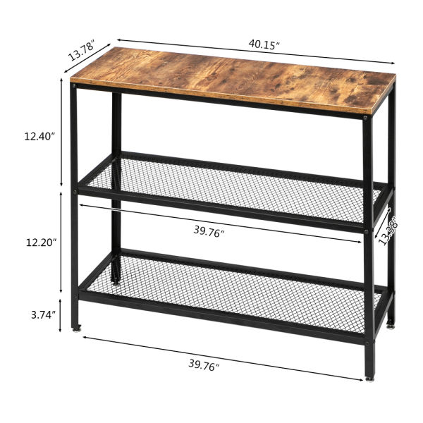 dropship Modern industrial wood grain 3 layers 40-inch rectangle wrought iron sofa table