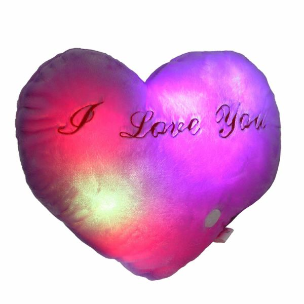 dropship LED Heart Pillow Glowing at Night with Embroidery I Love You Words for Valentine Day