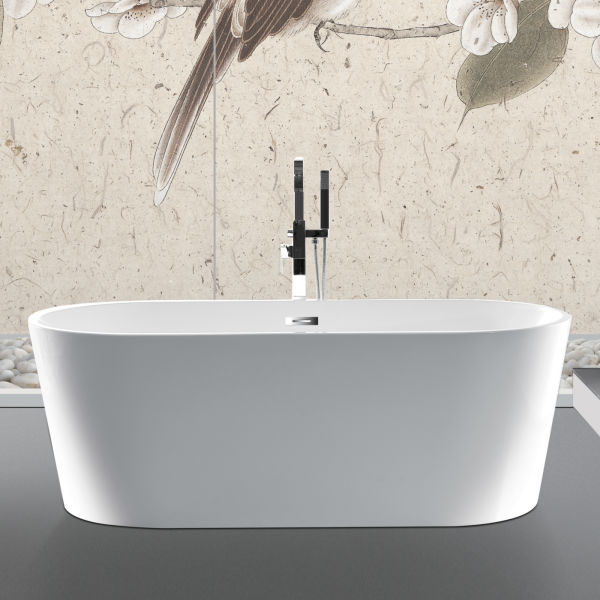 dropship [Only for Pick-up] 100% Acrylic Freestanding Bathtub Contemporary Soaking Tub with Brushed Nickel Overflow and Drain