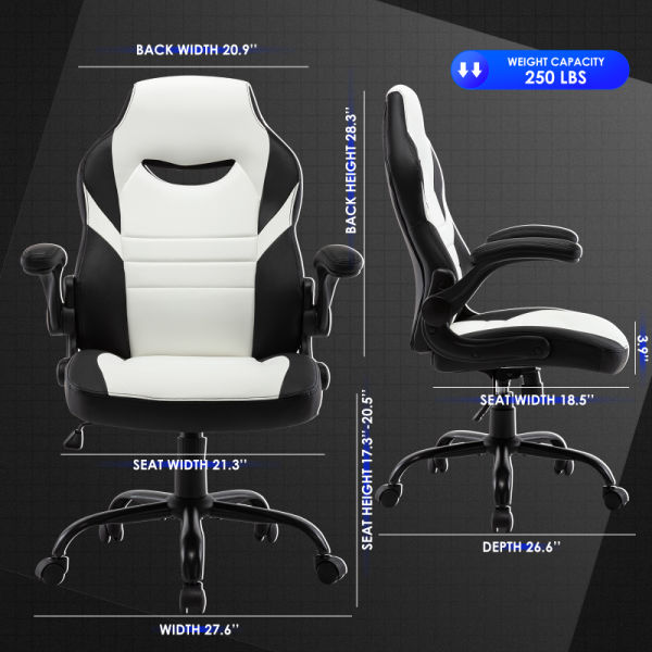 dropship Free Shipping Executive Gaming Chair Racing Computer Office Desk Chair, 360°Swivel Flip-up Arms Ergonomic Design for Lumbar Support