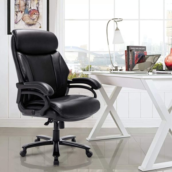 dropship High Back Big & Tall 400lb Bonded Leather Office Chair Large Executive Desk Computer Swivel Chair - Heavy Duty Metal Base, Adjustable Tilt Angle, Ergonomic Design for Lumbar Support