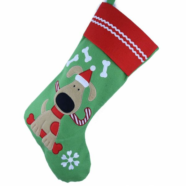 dropship Free Dropshipping 2pc/lot Lovely Embroidered Pets Pattern Christmas Stockings Dog or Cat 16-Inch Length for Christmas decor