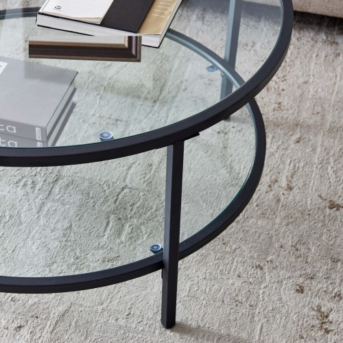 dropship Glass coffee table with large storage space