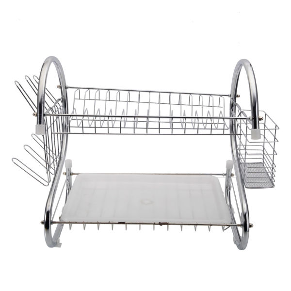 dropship 2 Tier Dish Drying Rack Drainer Stainless Steel Kitchen Cutlery Holder Shelf