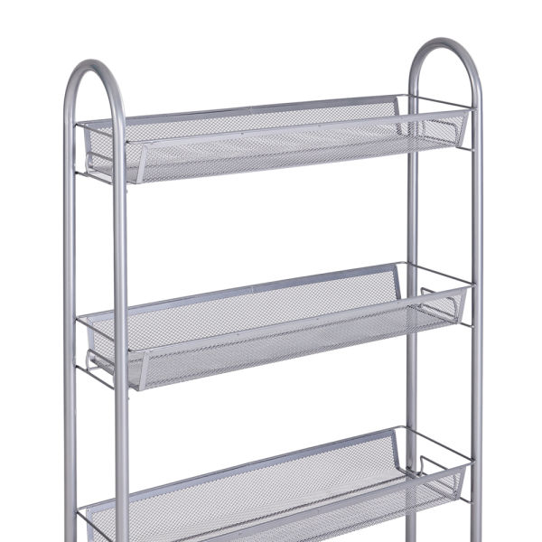 dropship 4-Tier Gap Kitchen Slim Slide Out Storage Tower Rack with Wheels, Cupboard with Casters - Silver