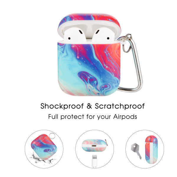 dropship Earbuds Case  for Airpods with Red Flow Pattern,OLEBADN Hard and Shockproof Cover for Men Women and Girls, 5 in 1 Accessory Sets Compatible for Air pod 2 and 1,Front LED Visible