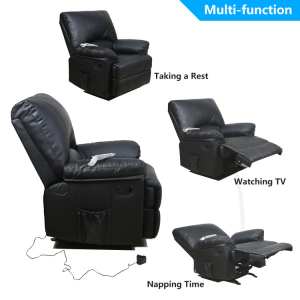 dropship Recliner Chair Massage Rocker with Heated Modern PU Leather Single Sofa Seat  Living Room Chair