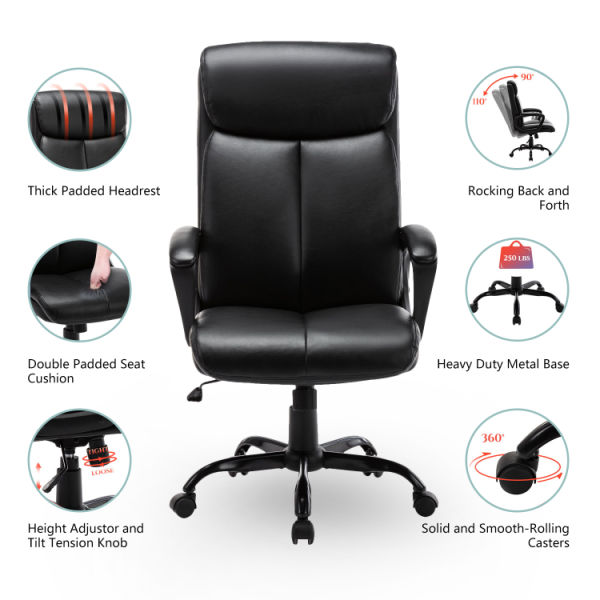 dropship Free Shipping High Back Office Chair - Executive Bonded Leather Computer Desk Swivel Task Chair W/Rocking Function, Black