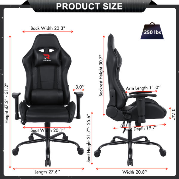 dropship Massage Gaming Chair-Ergonomic PU Leather Racing Computer Desk Office Chair, 360°Swivel, Adjustable Armrest Lumbar Support Soft Headrest