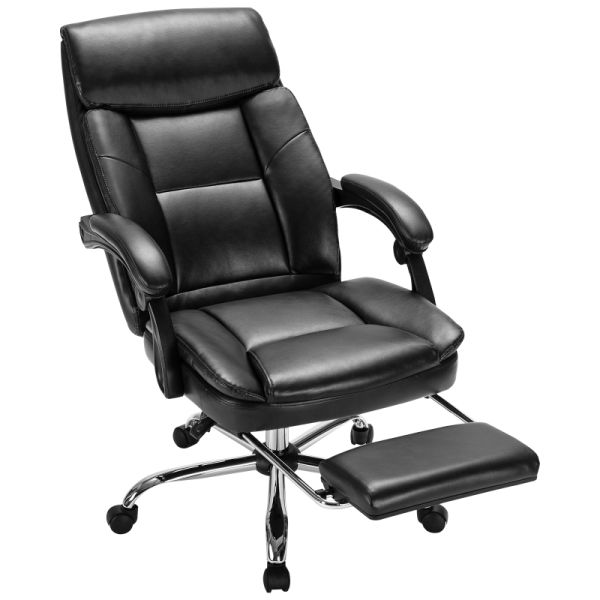 dropship Reclining Office Chair - High Back Executive Computer Desk Chair with Lumbar Support, Angle Recline Locking System and Footrest, Thick Padding for Comfort