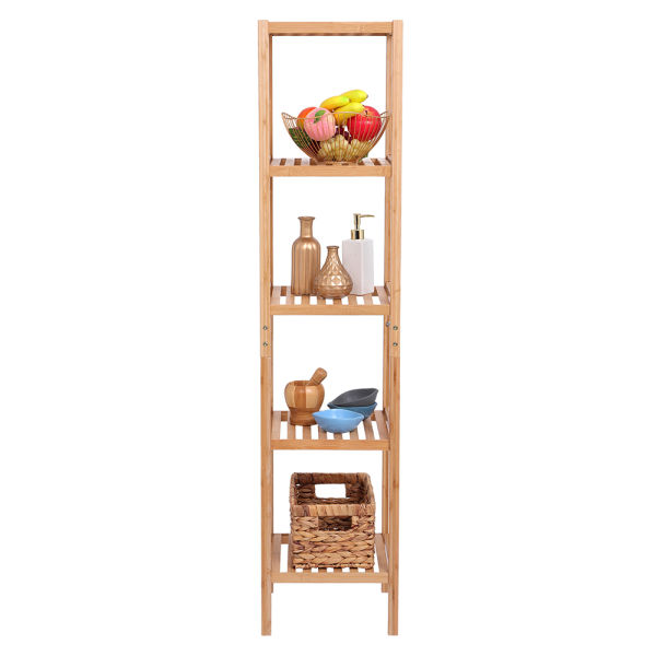 dropship 5-Tier Bamboo Shelf Free Standing Bathroom Tower Rack Corner Rack Multi-Functional Storage Organizer Unit