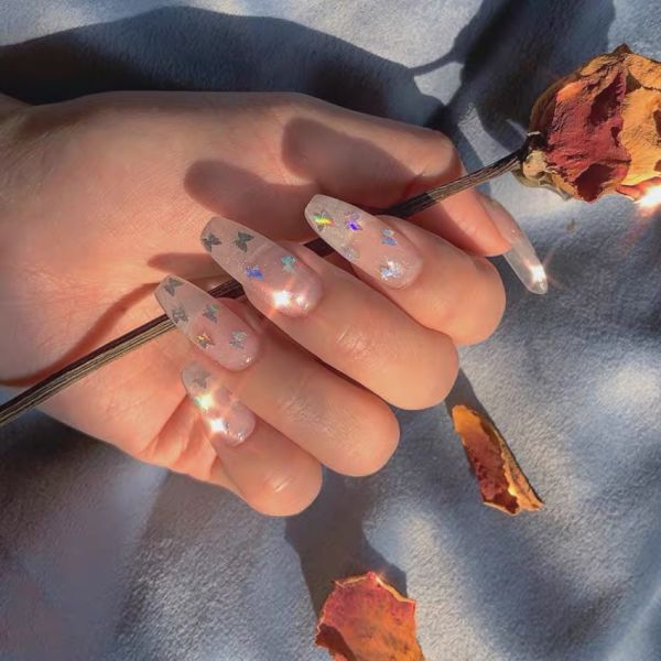 dropship Clear Butterfly Fake Nails/Press On Nails/Handmade