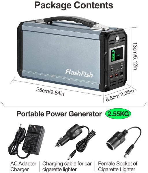 dropship 300W Solar Generator, FlashFish 60000mAh Portable Power Station Camping Potable Generator, CPAP Battery Recharged by Solar Panel/Wall Outlet/Car, 110V AC Out/DC 12V /QC USB Ports for CPAP Camp Travel