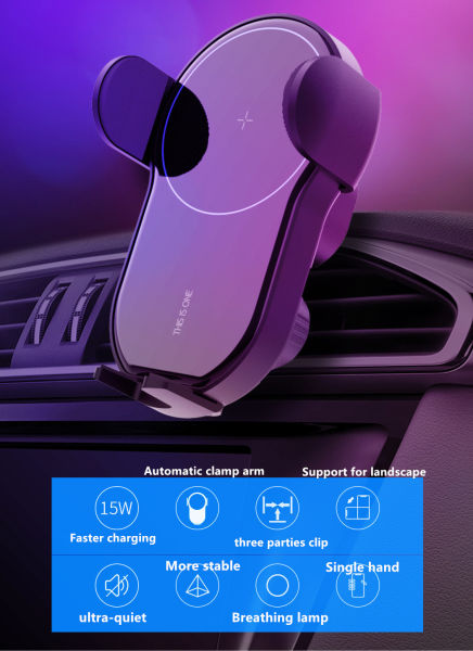 dropship HV Wireless charger mobile phone holder with adjustable gravity vent is suitable for Qi certification of various Android smart phones of iPhone, samsung Nexus, huawei and xiaomi
