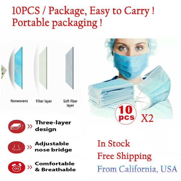 dropship Easy to Carry! Protective Mask 3Ply Non-Woven Disposable Face Mask Free Shipping