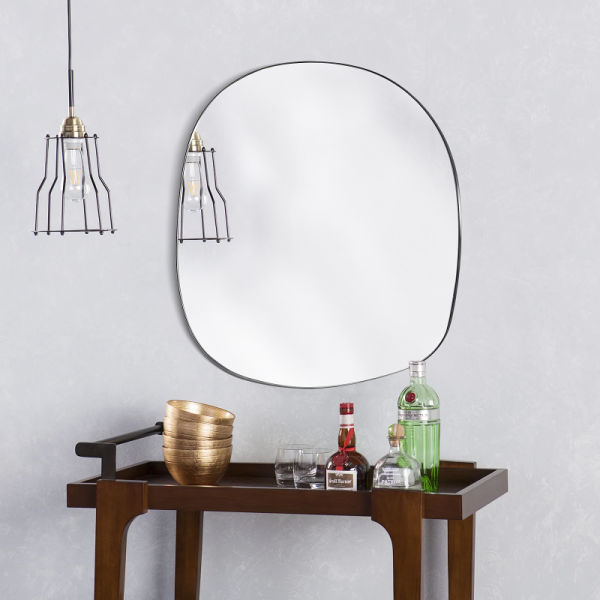 dropship Asymmetrical Accent Wall Mounted Mirror Decorative Living Room Bedroom Entryway, 19.7 x 33.5 Inches